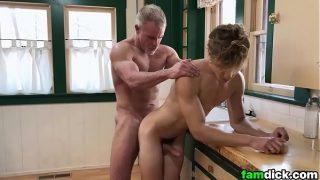 Blonde Twink Barebacked By His Step-Grandpa