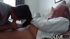 Grandpa Fucks Teen 18 years old tight pussy in bedroom
